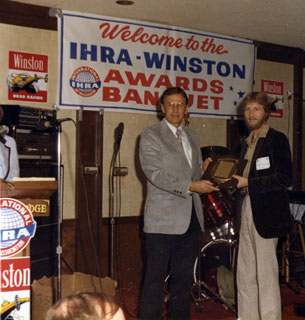 Larry Flickinger receiving I.H.R.A. award.